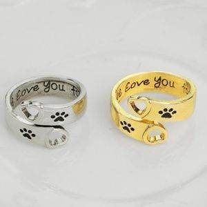 Adjustable Womens Pawprint Puppy Dog One Size Ring